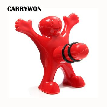 CARRYWON 1pc Unique Funny Happy Red Man Guy Wine Bottle Stopper Plastic Novelty Bar Home Tools Plug Perky Creative Gifts
