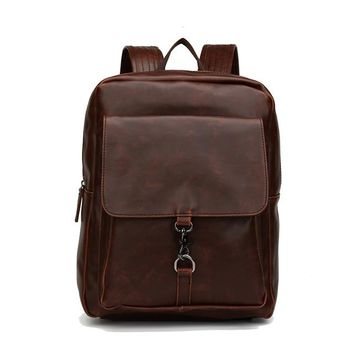 Student Backpack Children Mens Vintage Style Crazy Horse Leather Backpack Fashion Students School Bag Genuine Leather Fashion Casual Travel iPad Bags AT_49_3