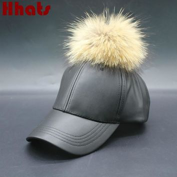 Which in shower Natural Real Raccoon fur Pom Pom Plain Winter PU Baseball Cap Blank Faux Leather Fur Ball Snapback Trucker Hat