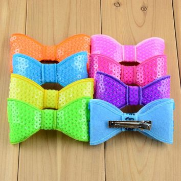 Hot New Big Sequin Bows 32C 8Cm Neon Colors 160pcs/lot Top Quality Shinny Sheet Bowknots For girl Beautiful Hair Clip  FC25