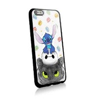 Stitch Baymax and Toothless for Iphone and Samsung Galaxy Case (iphone 6 plus black)