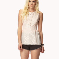 Lace Paneled Peplum Top