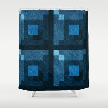 Blue Green Pixel Blocks Shower Curtain by Likelikes | Society6