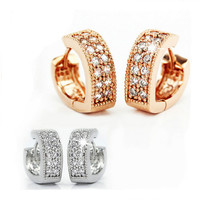 Free Shipping 1pair 18K Rose Gold Plated Womens Heart CZ Zircon Fashion Jewelry hoop earrings