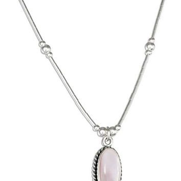 "Sterling Silver 16"" Liquid Silver With Oval Pink Shell Necklace"