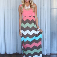Chevron Bliss Maxi Dress Coral