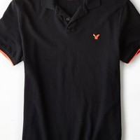 AEO Men's Tipped Polo (True Black)