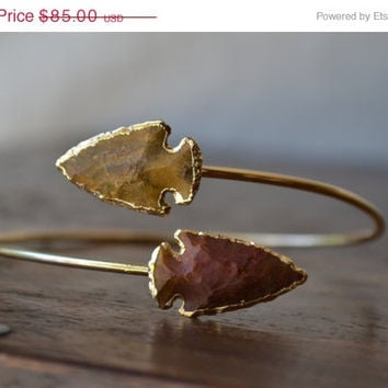 ON SALE Upper Arm Cuff /// Lux Divine Double Arrowhead Gemstone Arm Wrap/// Gold