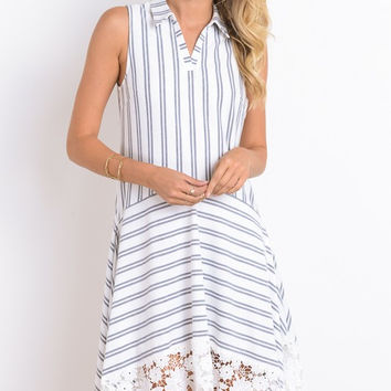 STRIPED DROP WAIST HANKY HEM DRESS