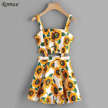 Sunflower Print Random Single Breasted Cut Out Dress Multi color Spaghetti Strap Floral Dress Sexy Sleeveless A Line Dress