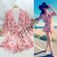 Hot Summer Beach Women Chiffon Floral Playsuit Shorts Romper Jumpsuit Sundress SV005474 (Color: Multicolor) = 1901798980