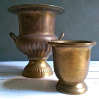 Antique Brass Mortar/ Heavy Brass Mortar/ Apothecary Bronze Mortar