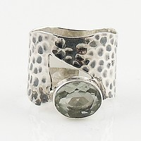 Green Amethyst Silver Asymmetrical Ring