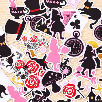 40pcs Self-made Beautiful Alice Wonderland Scrapbooking Floral Stickers DIY Craft DIY Sticker Pakc Photo Albums Deco Diary Deco