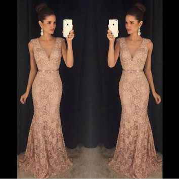 Vestido de Noche 2017 Elegant Long Lace Prom Dresses Sexy Deep V-Neck Formal Evening Party Gowns Custom Made Plus Size Handwork
