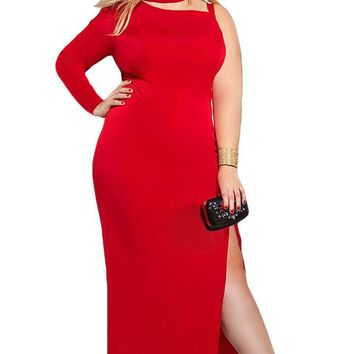 Red One Sleeve High Slit Plus Maxi Dress