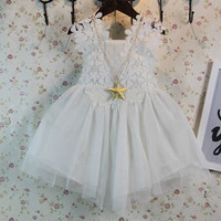 Baby girls evening dress white color lace dress for children girls kids clothes dress summer lace dress for girl retail