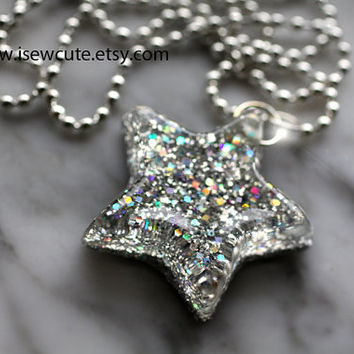 Star Necklace Silver Sparkle Resin Small size...by isewcute