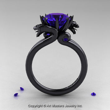 Modern Dragon 14K Black Gold 3.0 Ct Tanzanite Designer Engagement Ring R601-14KBGTA