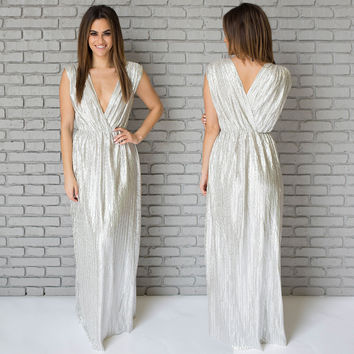 Illuminated Luxe Maxi Dress In Silver