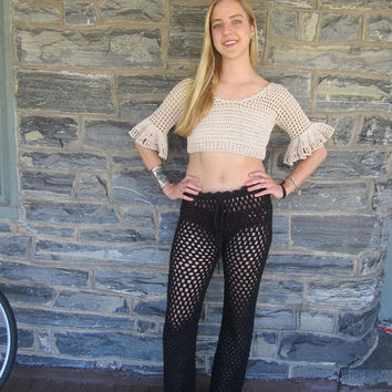 Crochet pants, black  women's pants, beach pants, boho pants, lace pants, womens lace pants, beachwear, festival clothing, Hippie pants