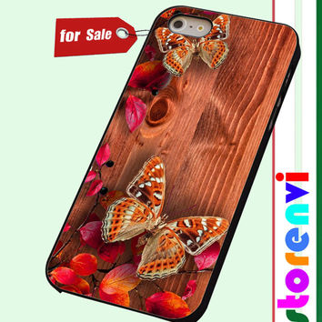 Butterflies on wood custom case for smartphone case