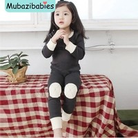 Infant boy clothing Children Padded Clothing for Babies Kids  Autumn Winter Plus Velvet Set Warm Underwear Clothes baby