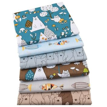 6pcs/lot New Bears&Fishes Twill Cotton Fabric Patchwork Cloth DIY Sewing Quilting Fat Quarters Material