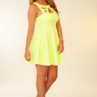 Shine For You Dress: Neon Yellow | Hope's