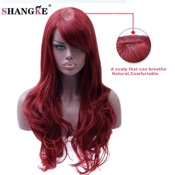 """SHANGKE"" Hair Long Wavy Red Wig Womans Heat Resistant Synthetic Wig"