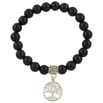 Healing Beaded Tree of Life Bracelet in Black Onyx