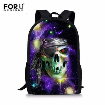 School Backpack FORUDESIGNS New Arrival Teenagers Vintage School Bags Punk Skull Print Large Capacity Laptop Backpack for Students Mochila 2018 AT_48_3