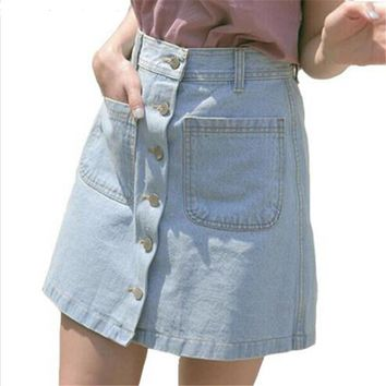 Little Elf! New 2016 women summer skirts fashion high waist skirts plus size mini jeans skirt high quality denim skirt SY035SY