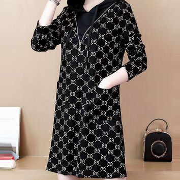 GUCCI Autumn Winter Trending Women Stylish Print Velvet Long Sleeve Hoodie Dress Black/White