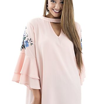 Women's Plus Embroidered Bell Sleeve Top with Choker Neckline