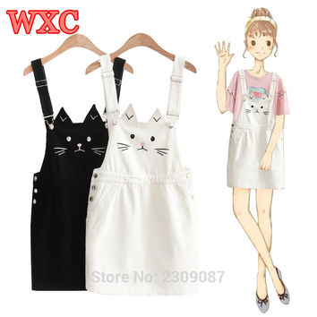 Summer Suspender Dress Harajuku Cute Cat Embroidery Strap Jeans Dresses For Women Preppy Style Sundress Denim Overall Dress WXC