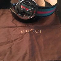 Authentic New Gucci Black/Green/Red GG Buckle Belt Size 90cm 30-32 Waist