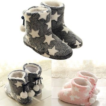 Fashion Women's Plush Slipper Bootie Boots Faux Fur Pom Pom Fleece Pro POP