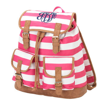 Monogrammed Campus Backpack Pink Stripe Bookbag Satchel Back Pack Book Bag Girls