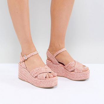 ASOS DESIGN Thierry Raffia Wedges at asos.com