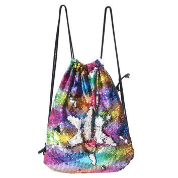 Mermaid Sequin Drawstring Backpack Women Glittering Sequins Shoulder Bag Magic Reversible Glitter Drawstring Backpack Teenagers