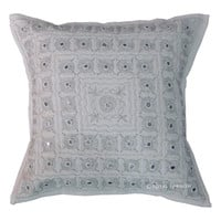 Unique Indian Mirror Embroidered Decorative Cotton Throw Pillow Case