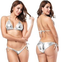 Two Piece Silver Metallic Triangle Top & Side Tie Scrunch Bottom Set (Many Colors Available)