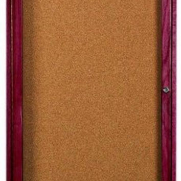 """Enclosed Indoor 18""""x24"""" One Door Cherry Stained Red Oak High Gloss Clear Lacquer Finish Bulletin Cork Board"""