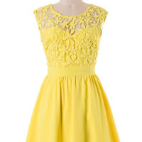Gorgeous in Lace Dress - Yellow