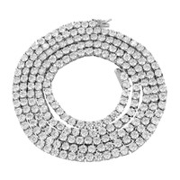 """Stainless Steel 4mm 20"""" 14k White Gold Tone Tennis Choker Necklace"""