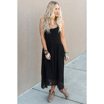 Barefoot Lace Slip Dress - Black