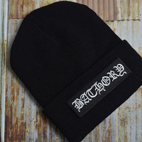 Bathory Death Metal Indie Music Grunge Grunge Rock Black Knit Ski Unisex Beanie Hat Embroidered Patch Patches