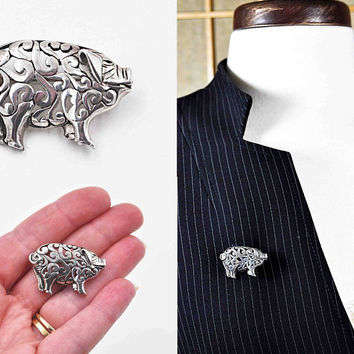 Vintage Jezlaine Sterling Silver Pig Brooch, Pig Pin, Scroll, Cutout, Openwork, 3D,  Figural, Piggy, Animal, So Sweet! #c177