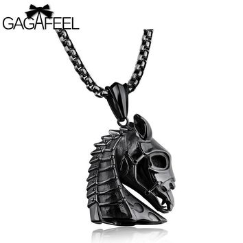 GAGAFEEL Horse Head Pendant Necklace Zodiac Animal Design Stainless Steel Jewelry